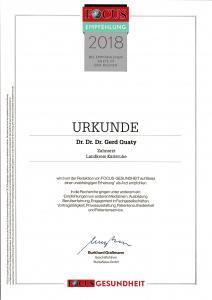 FOCUS Urkunde 2018